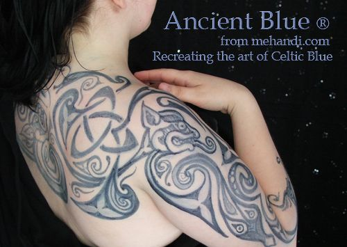 Indigo and woad, traditional Celtic skin coloring. I am TOTALLY buying some of this this summer and painting the CRAP out of myself.