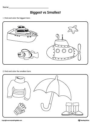 Biggest Vs Smallest Items Worksheet Worksheets For Kids Worksheets Printable Worksheets
