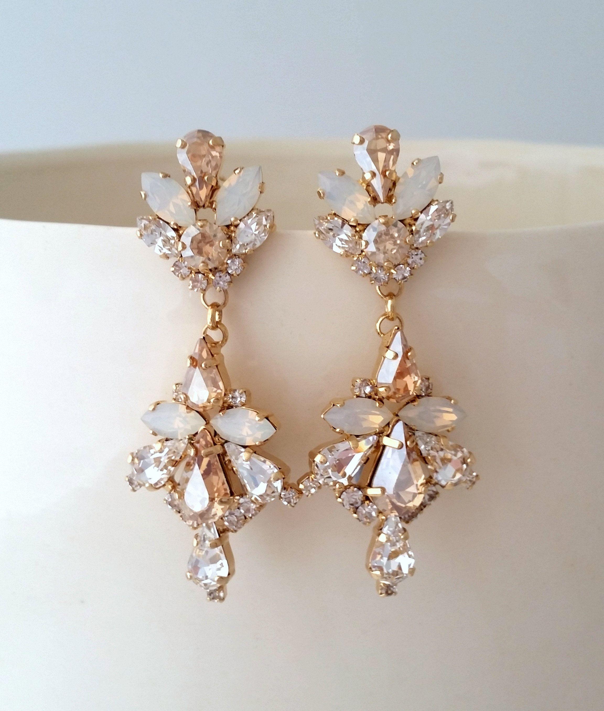 Bridal Earrings Drop Long Chandelier Earrings Champagne Bridal
