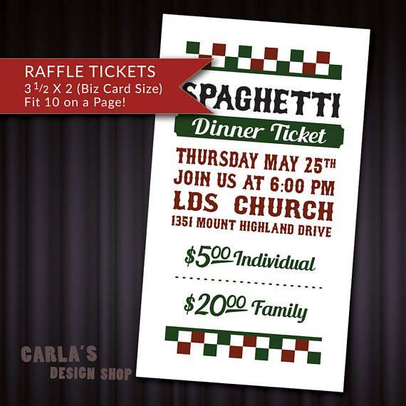 spaghetti feed printable raffle ticket fundraiser business card size