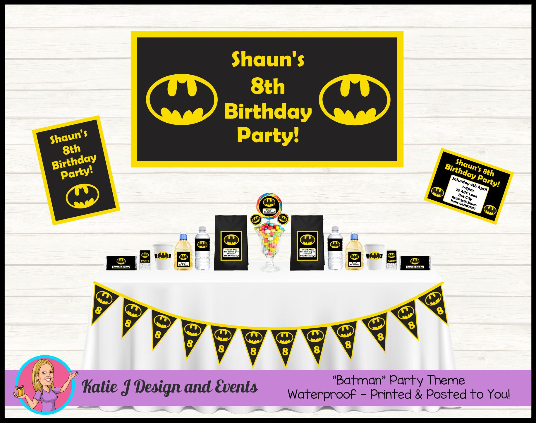 Batman Logo Personalised Birthday Party Decorations Supplies Packs Shop Online Australia Banners Bunting Wall Display Cupcake