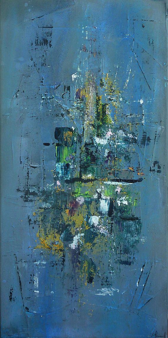 Peinture Moderne Acrylique Et Matière Fond Bleu Gris Tons Vert