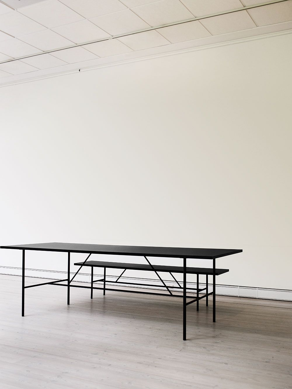 Table and Bench in black | furniture . Möbel . meubles | Design: hay |
