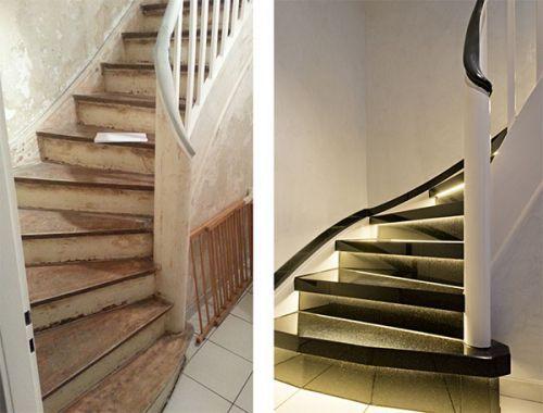 Treppenrenovierung im treppe über treppe system von werthebach mit naturstein granit star galaxy und led beleuchtung