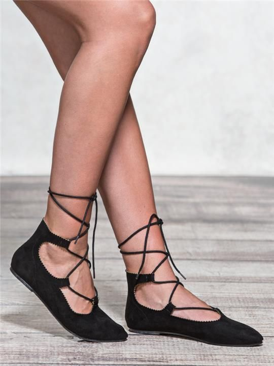 zoom image of Lace-Up Ballet Flats