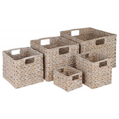 White Water Hyacinth Rectangular Storage Baskets