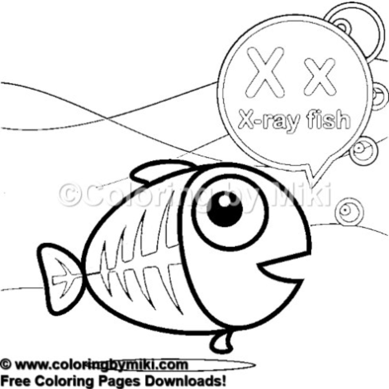 Alphabets X for X-ray Fish Coloring Page 448 # ...