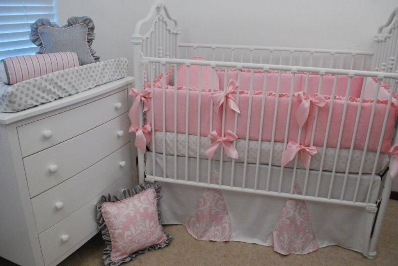 Pink, white and grey crib bedding