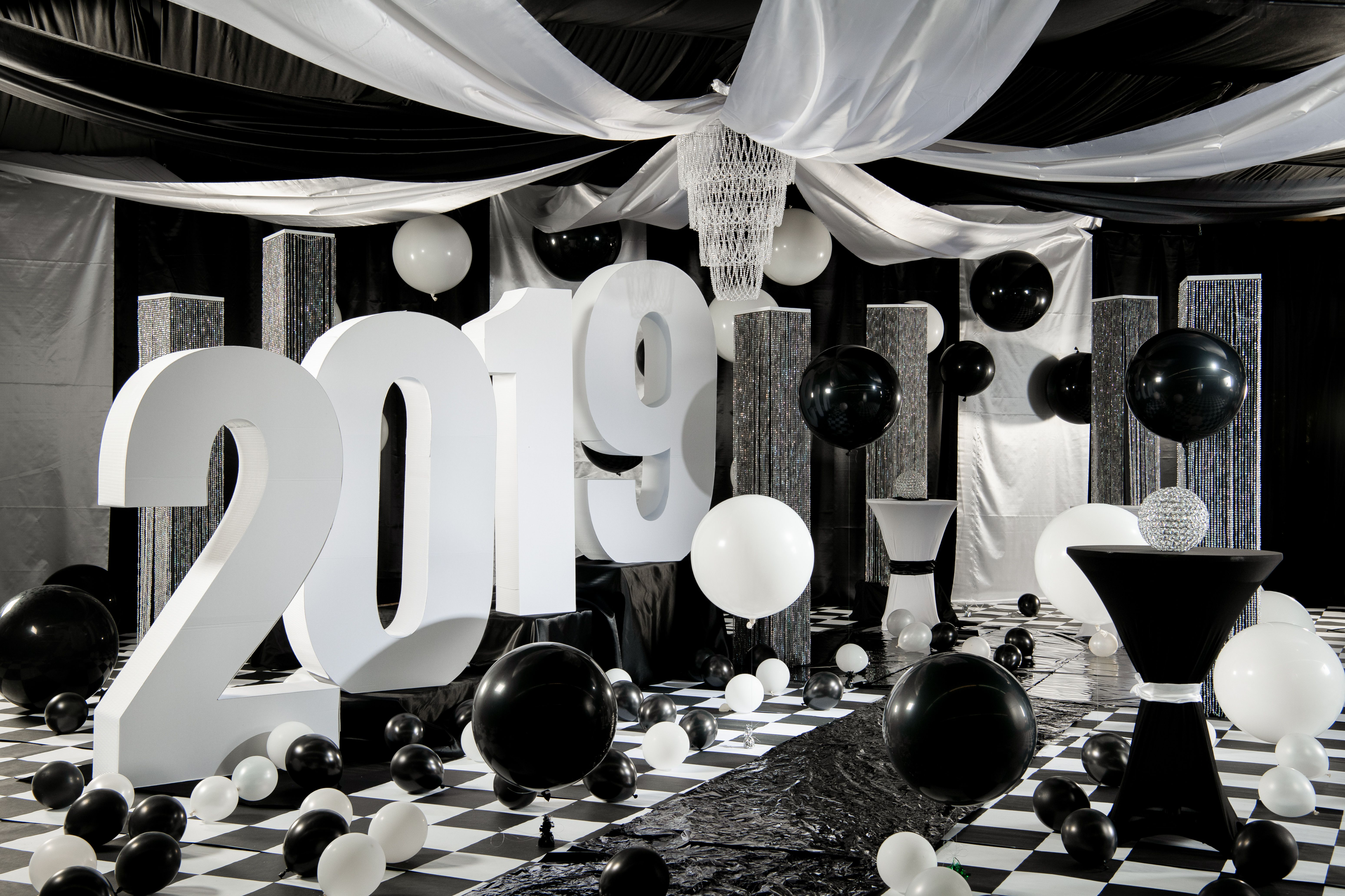 Black White Ball Theme For Prom 2019 White Cocktail Tables