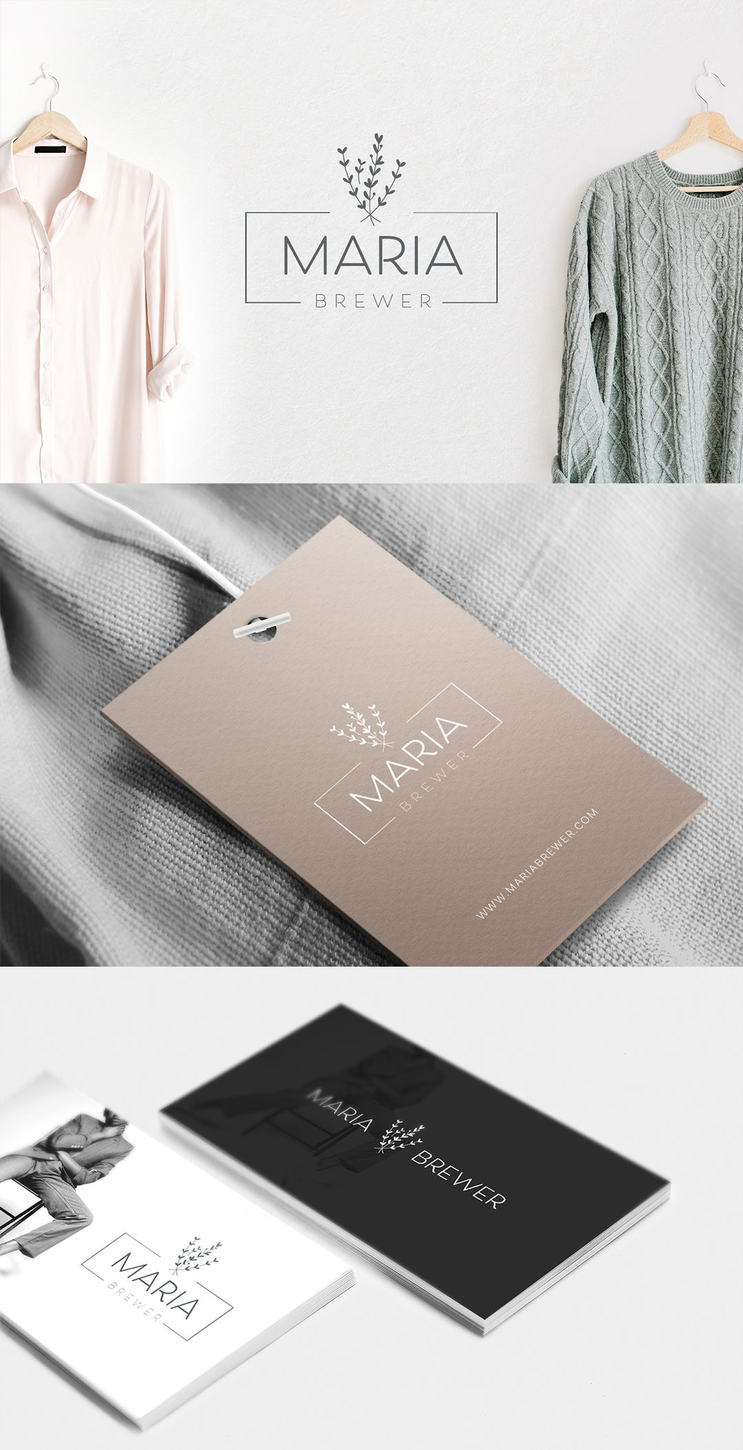 Rectangular logo with floral symbol, perfect for fashion