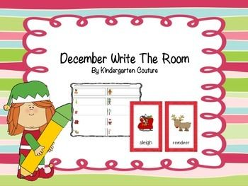 In this write the room pack you will receive 10 Christmas pictures for your write the room center.  There is a picture recording sheet and two sentence writing pages.  Students will love having the chance to walk around the room searching for Christmas pictures.