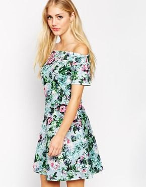 Style London Bardot Skater Dress in Floral