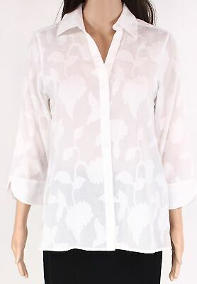 Foxcroft Women's Button Down Shirt White Size 4 Floral Embroidered $79 #085 #fashion #clothing #shoes #accessories #women #womensclothing (ebay link)