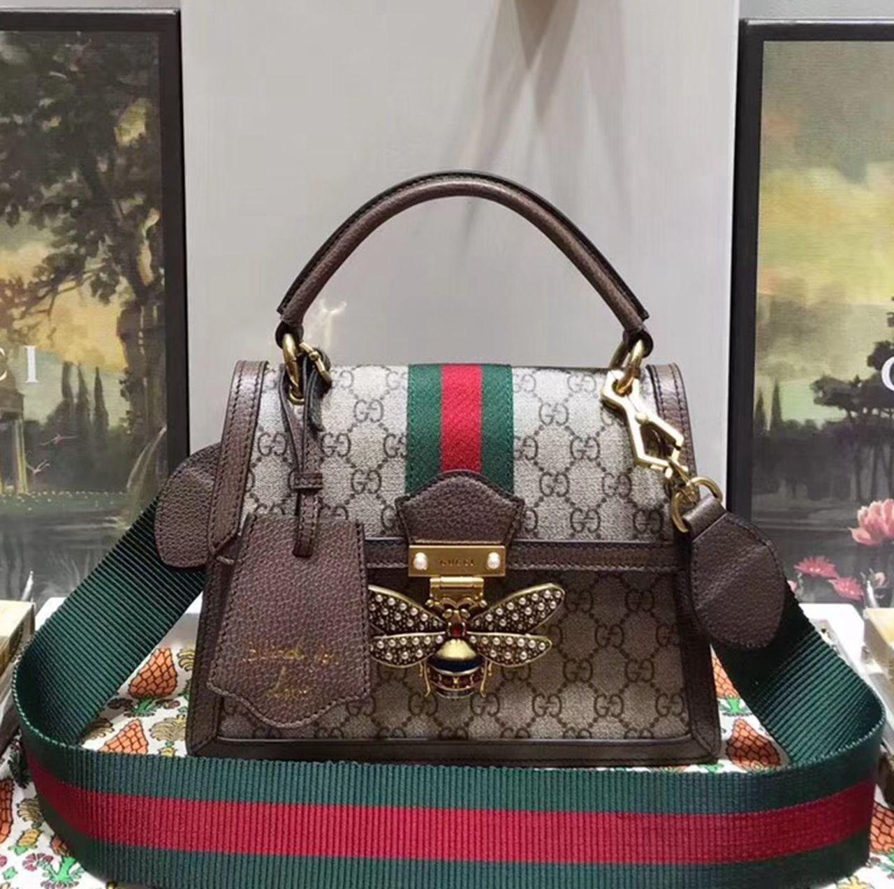 e24d4d83cc9f Gucci Queen Margaret GG Small Top Handle Bag 476541 Brown 2018 Top ...