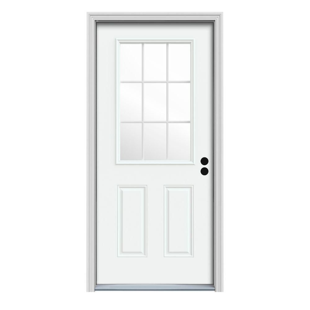 Jeld Wen 36 In X 80 In 9 Lite White Painted Steel Prehung Left