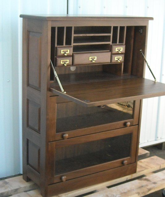 Custom Made Barrister Bookcase, Drop Front Computer Desk