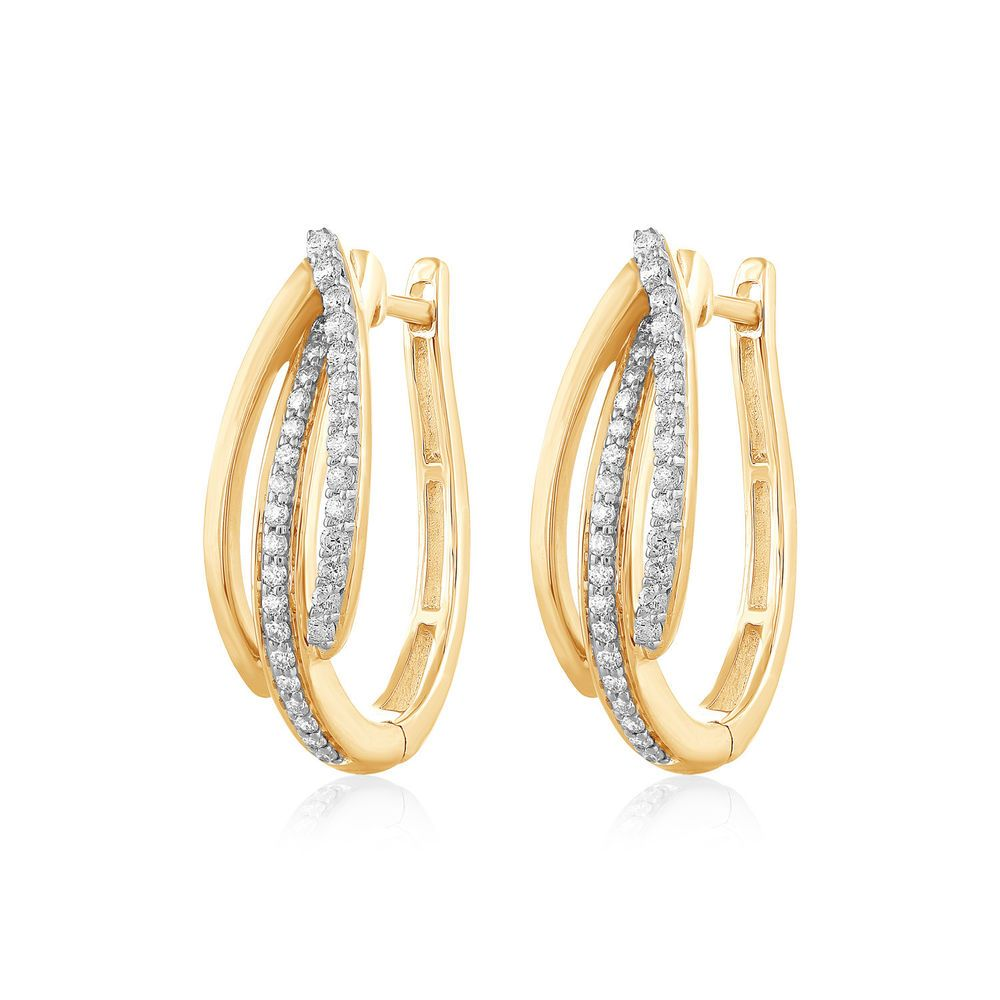 Solid 14K Yellow Gold Drop Dangle Screw Back Earrings w// 0.40Ct Created Diamond