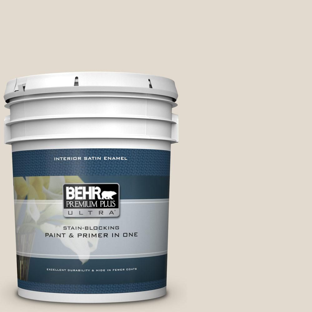 BEHR Premium Plus Ultra 5 gal. #W-B-720 Oyster Satin Enamel Interior Paint and Primer in One