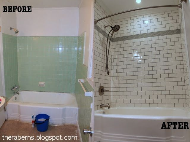 Bathroom Renovation Ranch Remodel Green Tile To White Subway - Ranch house bathroom remodel
