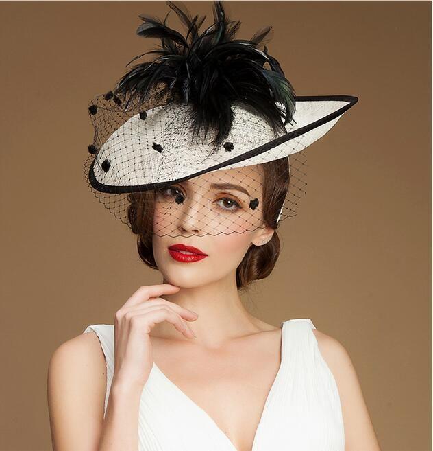 Women s Kentucky Derby Church Wedding Noble Dress Hat Linen Feather Hat 8f0ae55c735