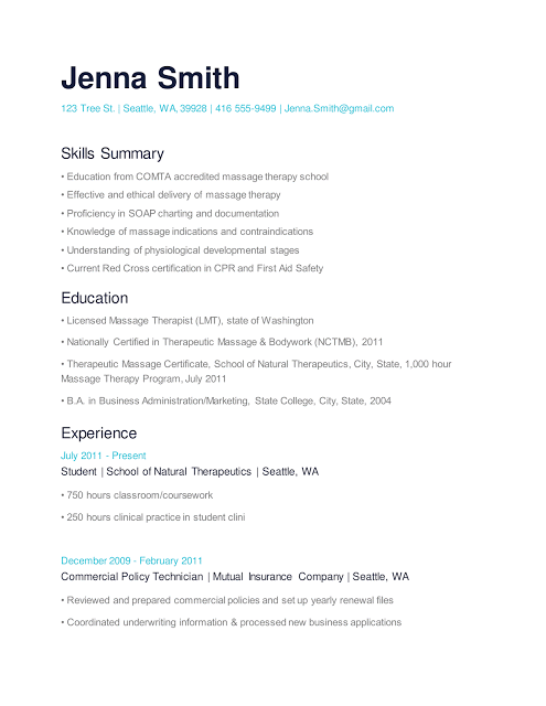 massage resume examples no experience