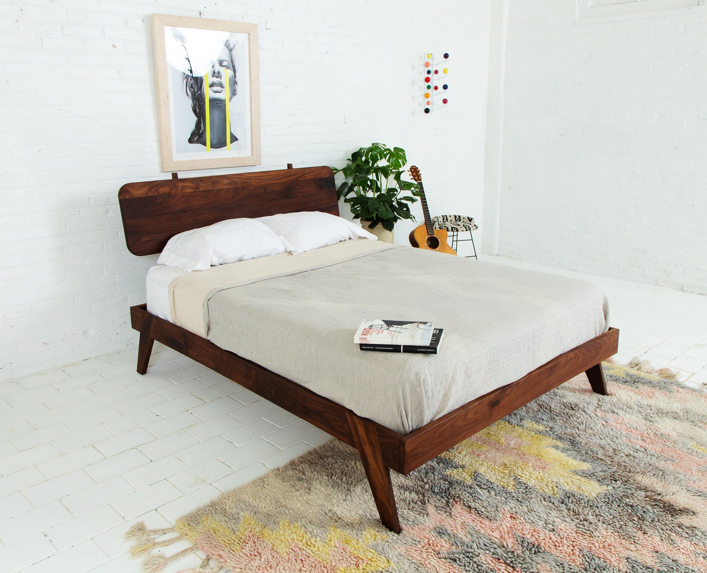 Best Modern Walnut Bed Frame Queen Platform Bed The Wookie 640 x 480