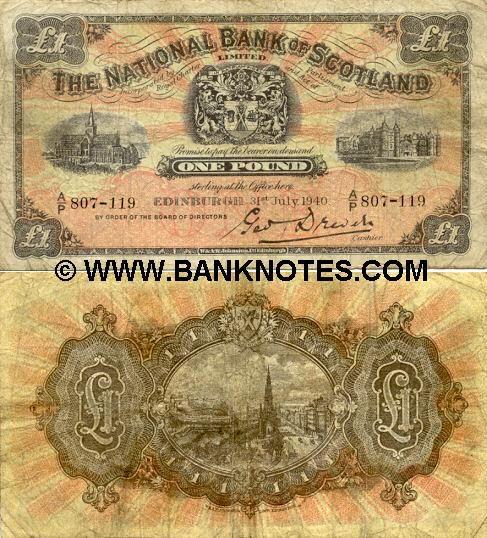 Scotland 1 Pound 1940 The National Bank Of Scotland Views Of Scotland Billetes Del Mundo Papel Moneda Monedas