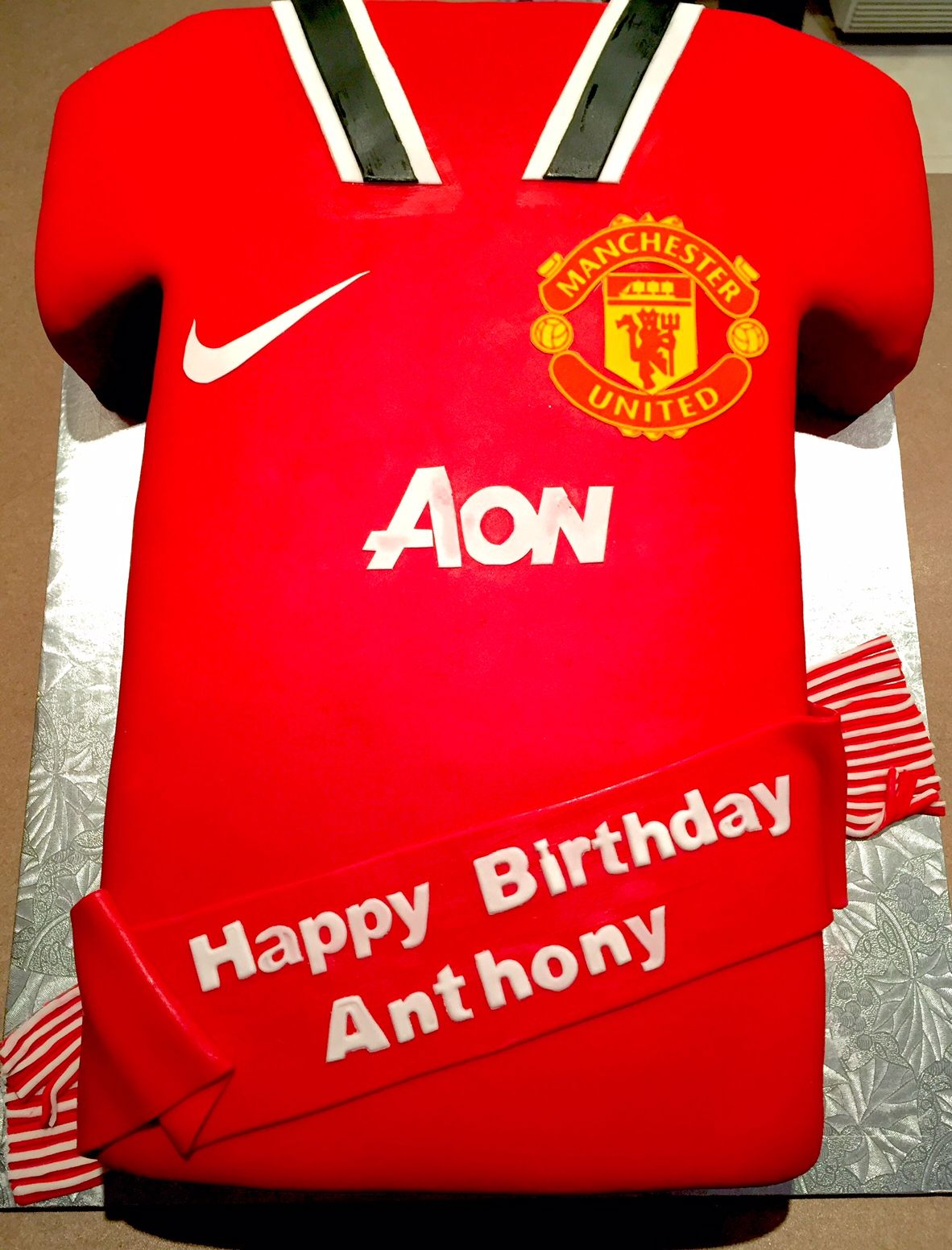 Manchester United Soccer Jersey Cake Man U Logo Is Edible Image The Rest Is Handmade Shirt Cake Happy Birthday Anthony Edible Images