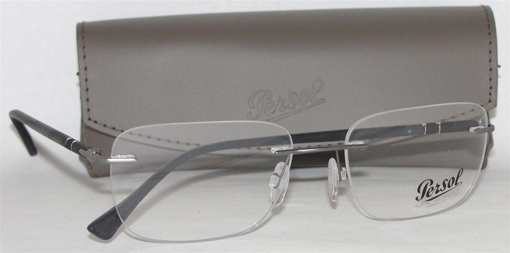 New authentic persol po2428v 1030 matte gunmetal rimless eyeglasses ...
