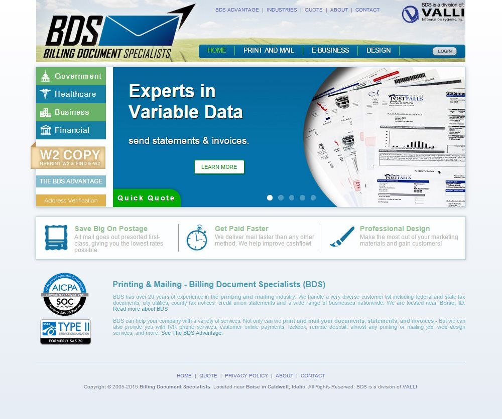 Bds  Website Design  Printing Mailing Online Payments Utility