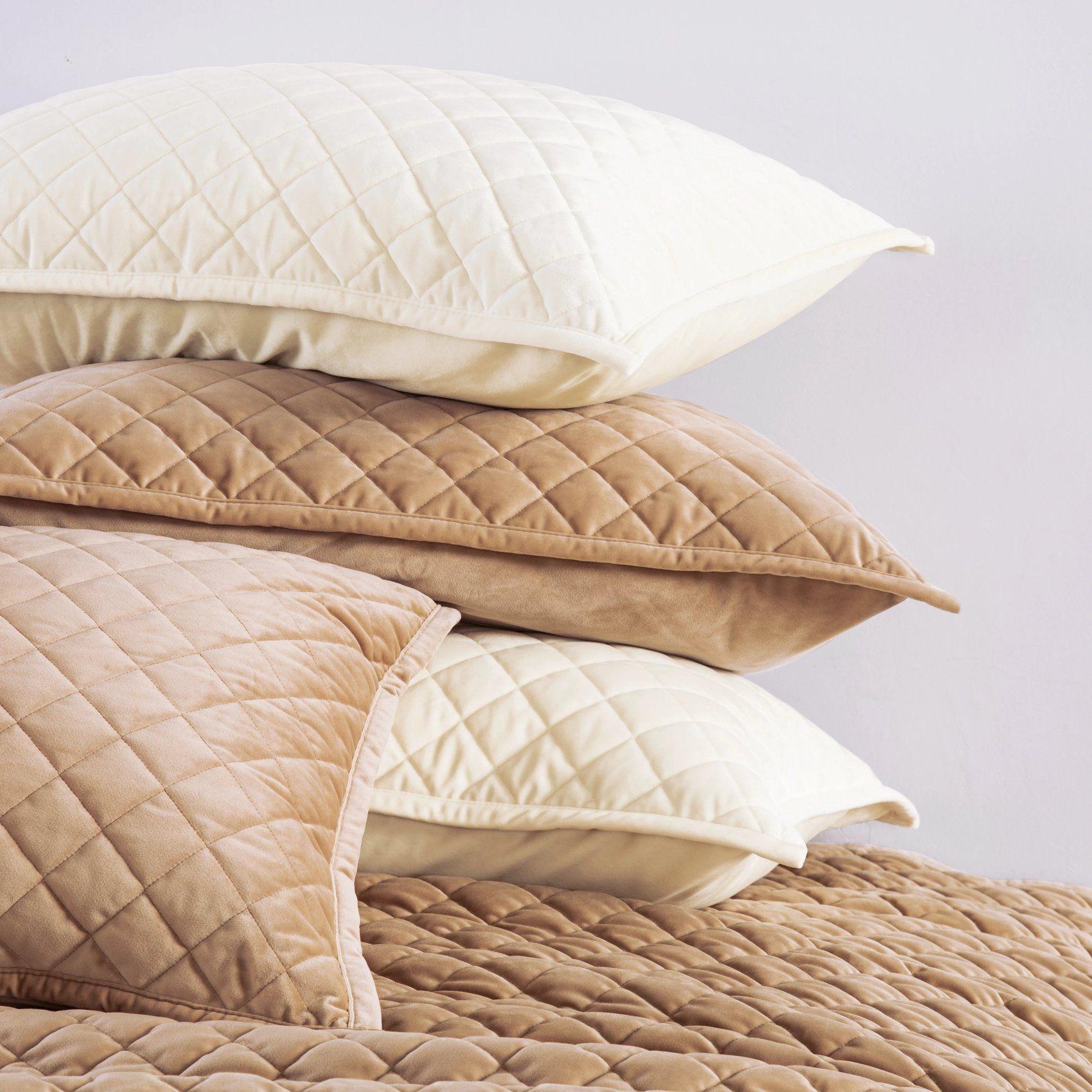 Velvet Quilted Pillow Sham Standard King Pair Pillow Shams Quilted Pillow Shams Velvet Quilt King size quilted pillow shams