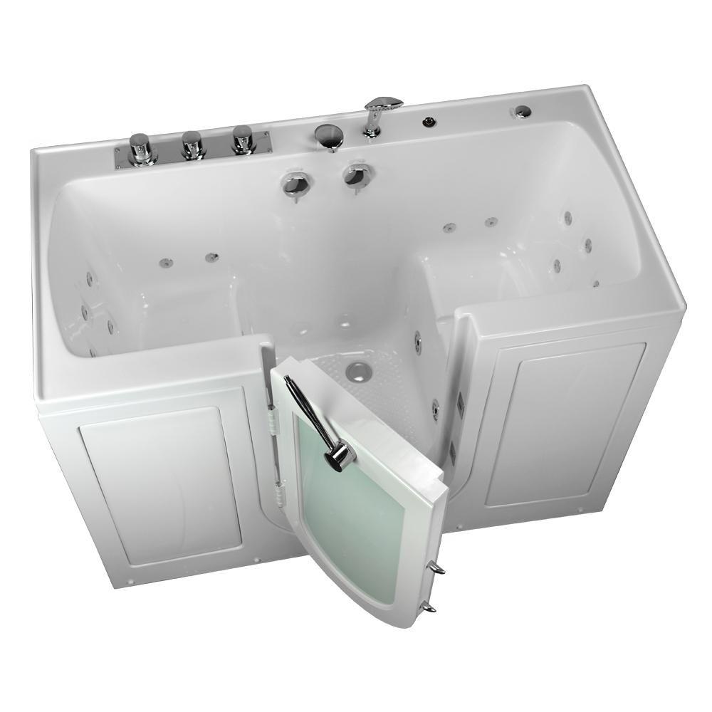 5 Ft Tub4two 2 Seat Acrylic Walk In Whirlpool Bathtub In White