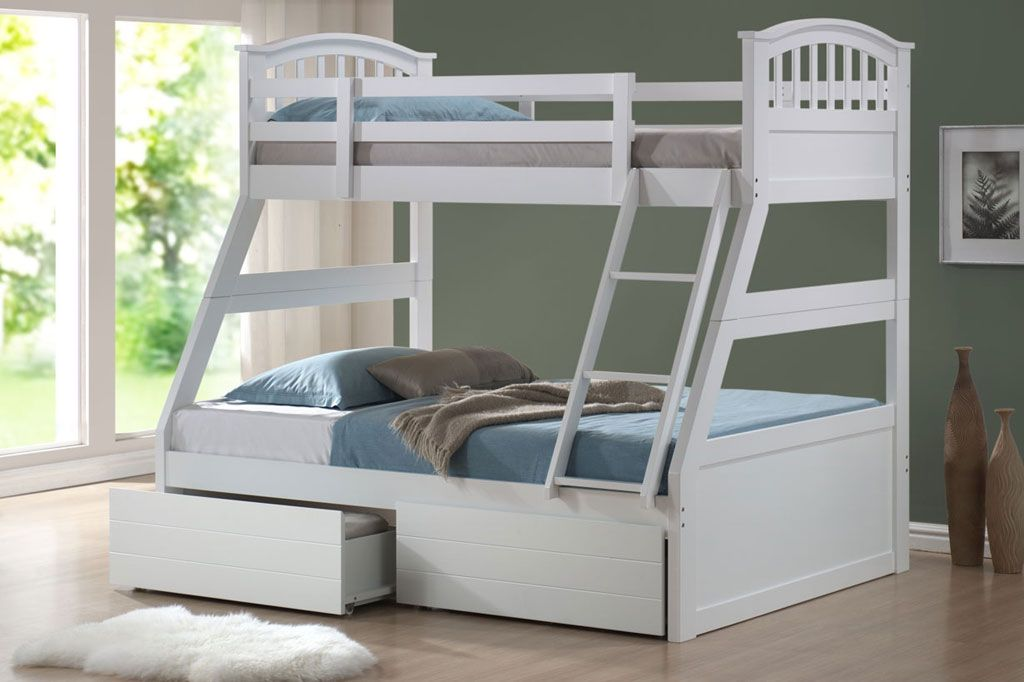 Joseph Polo Three Sleeper Bunk Bed With Drawers Cool Bunk Beds Bunk Bed Designs White Bunk Beds