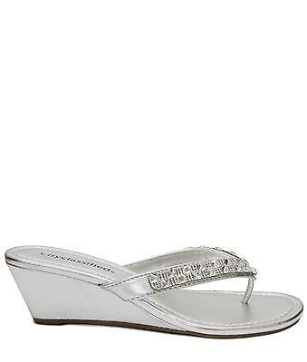 4f18b57f5785 Women s Rhinestone Jewel Embellished Med Low Wedge Thong Dress Sandals  KLAUDIA