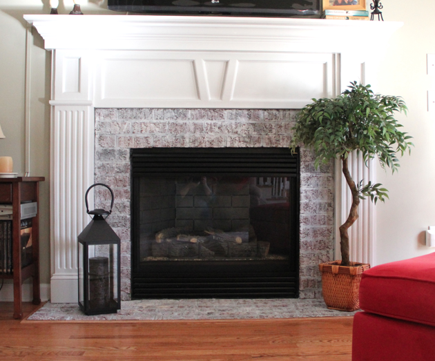 Fireplace Whitewash Makeover The