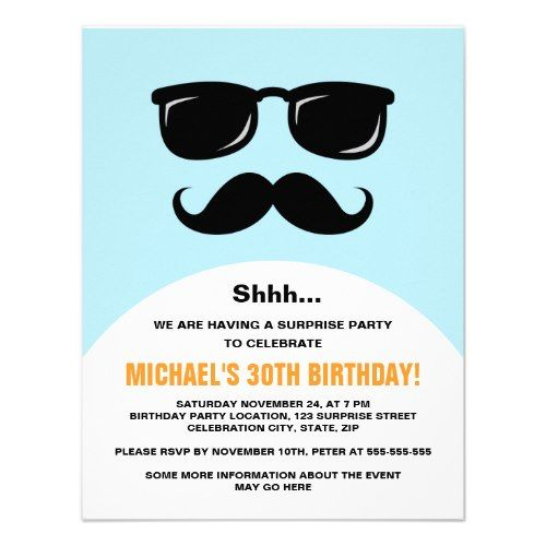 Incognito Blue And Orange Surprise Party Invite Funny Birthday Party Invitation Surprise Party Invitations Surprise Party
