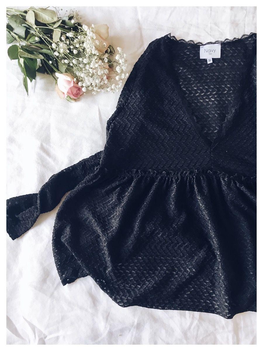 Top Péplum, dentelle noir, coupe évasée 100% polyester lavage à 30° Prenez votre taille habituelle. Entre deux tailles ? Préférez celle au-dessus J...