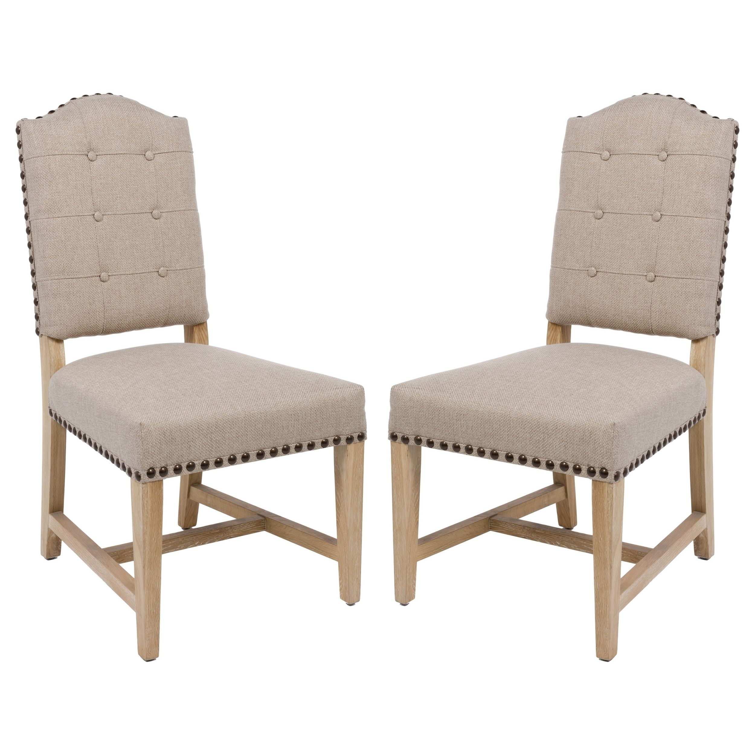 Safavieh Couture Collection Penny Alder Beige Linen Side Chairs (Set of 2) (MCR4902A-SET2)