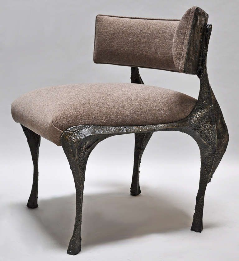 Paul Evans (American 1931 1987) Rare Pair Of Sculpted Bronze Chairs