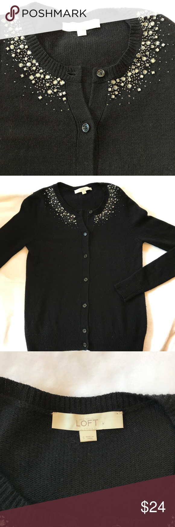 Loft Cardigan with Beaded Neckline | Small loft, Lofts and Neckline