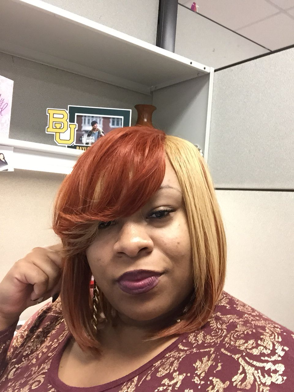 Quick Weave Bob W Invisible Part Honey Blonde And Red