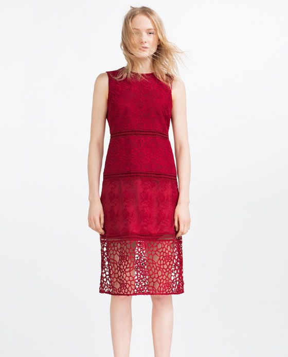 Image 1 of CONTRAST EMBROIDERED DRESS WITH LACE from Zara - DRESSY ...