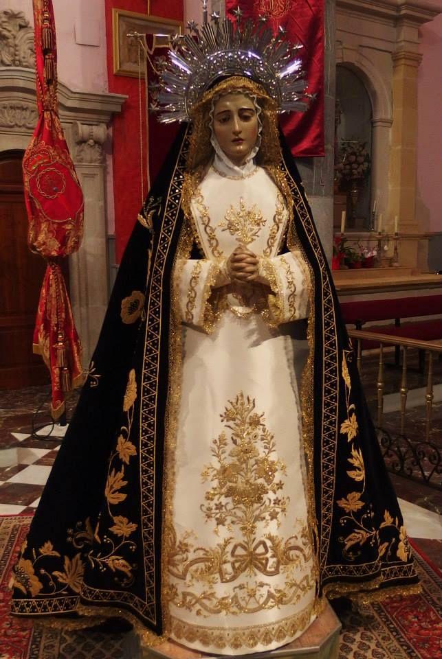 Saya y corpiño de la Virgen de la Soledad, Cofradía del Perdón, Murcia Taller de bordado Sebastián Marchante