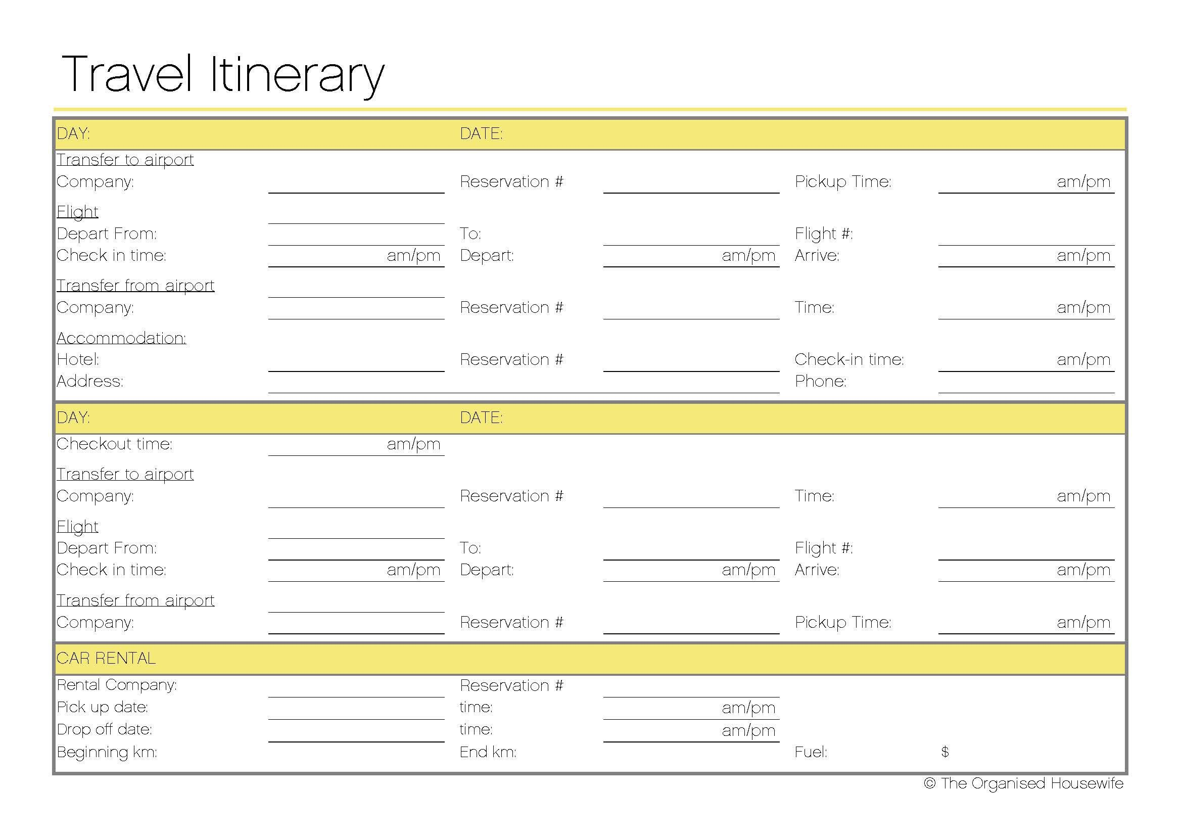 Free printable travel itinerary travel itinerary for Trip planning itinerary template