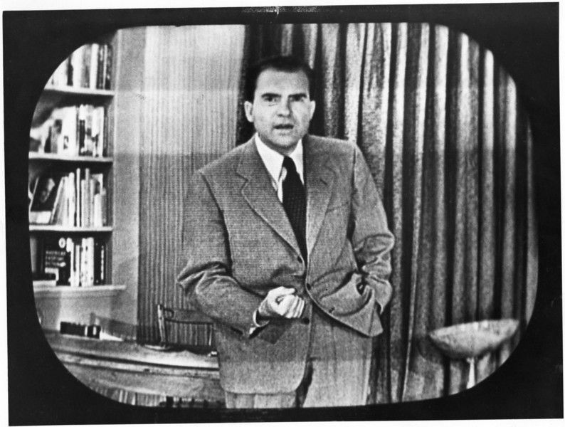 the political triumph of richard nixon the checkers speech Television speech given by richard nixon on september 23, 1952, when he was the republican candidate for the vice presidency talked about his dog, checkers said to have saved his career from a campaign contributions scandal.