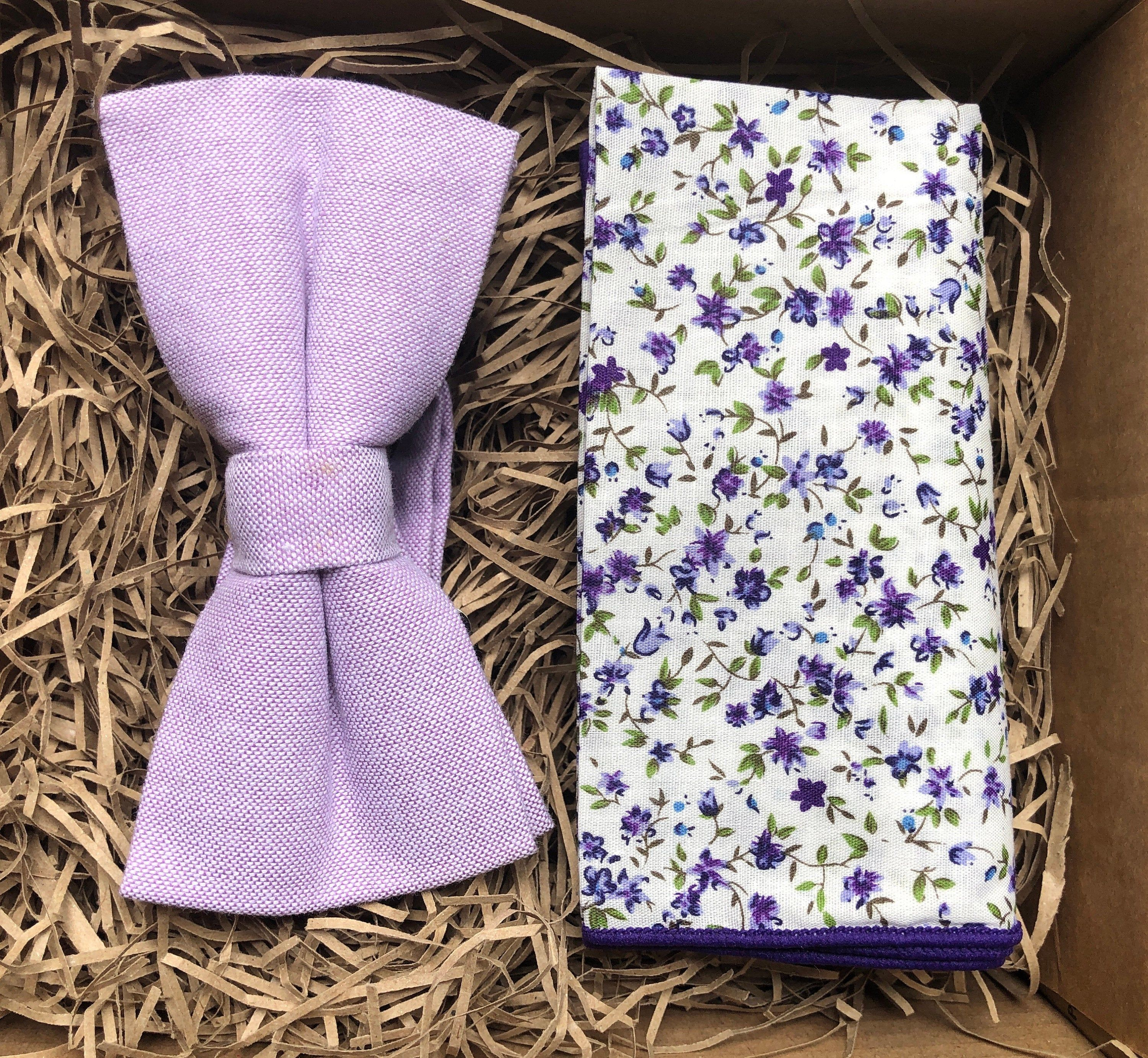 The Clover Galaxy Lavender Bow Tie Floral Pocket Square Etsy Floral Pocket Purple Bow Tie Tie And Pocket Square