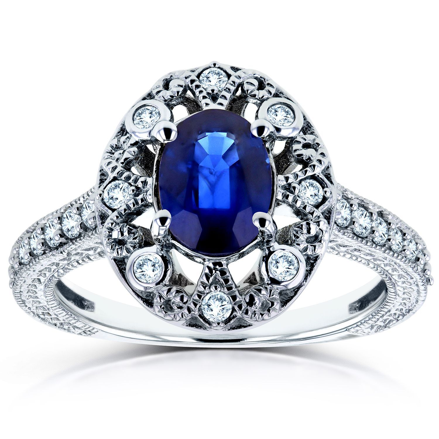 Annello by Kobelli 14k White Gold Oval Blue Sapphire and 1/4ct TDW Diamond Ring (H-I, I2) (Size 10.5), Women's