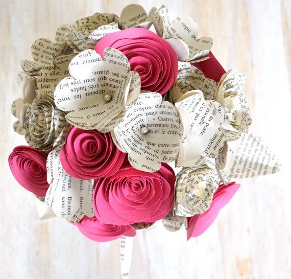 Pink Romance - Large Paper Flower Bridal Bouquet - Ready to Ship ...