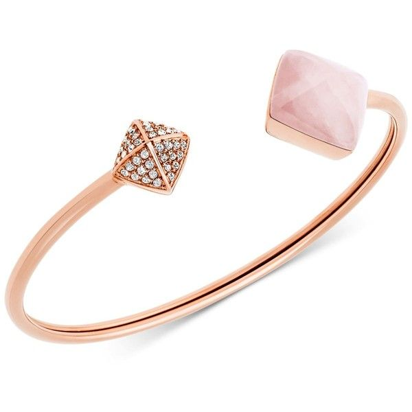 Michael Kors Rose GoldTone Pink Stone and Pave Open Cuff Bracelet
