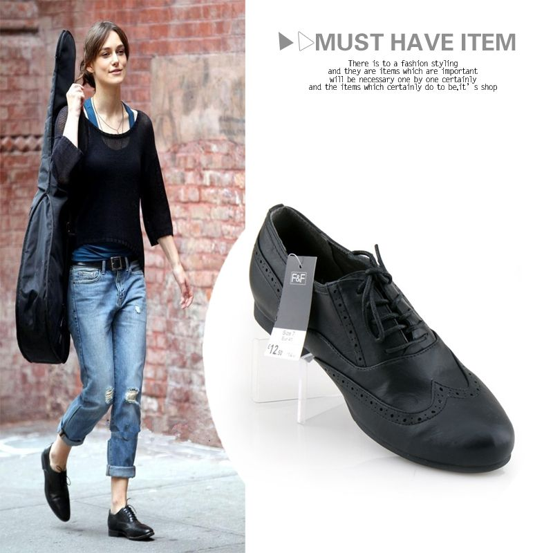 Women's Brogues Shoes | Casual Carved Brogue Oxford Shoes Preppy British  Style Lacing Women .. Black ...